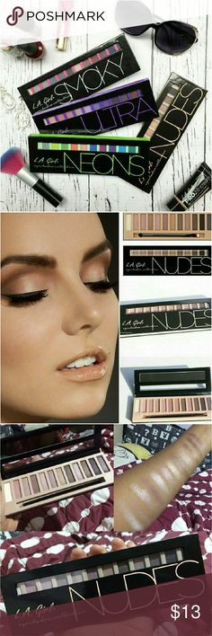 L.A. GIRL EYE SHADOW BRICK PALETTE NUDES  Create subtly beautiful tones with this nude palette including 12 shades to use or mix and make your own bold color. L.A. Girl Makeup Eyeshadow