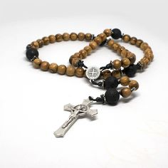 St Benedict Rosary - Rosario San Benito - Olive wood from Holy Land - Saint Benedict crucifix, first communion gift, Christmas Catholic gift