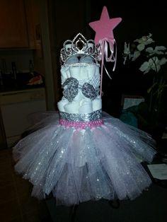 Baby girl diaper cake idea!