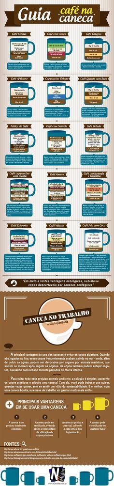 Qual o seu café preferido? Aproveite e confira um delicioso infográfico com algumas receitinhas de café.: