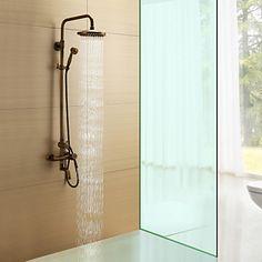 Antique Brass Single Handle Wall Mount Rain + Handheld Shower Faucet – USD $ 219.99