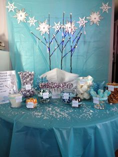 Frozen candy buffet for a birthday party. Frozen Candy Buffet, Birthday Ideas, Birthday Parties, Frozen Party, Buffets, Party Ideas, Holidays, Table Decorations, Sweet