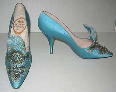 Christian Dior shoes - 1957 - House of Dior - Design by Roger Vivier - Silk, leather, glass, feathers, metallic thread - The Metropolitan Museum of Art - @~ Mlle