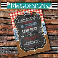 Any Color COWBOY BABY SHOWER Leather Chalkboard Boots Hat Red Bandana Cow Print Denim Blue Jean Rope Barn Bridal Birthday Invitation