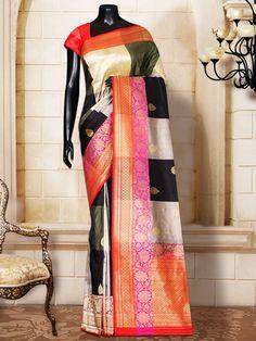 Multi Color Katan Silk Booti Banarasi Tanchoi Handloom Saree