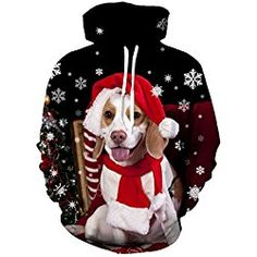Uideazone Teen Print Dog Puppy Graphic Hooded Sweatshirt Ugly Christmas Sweater Hoodie Black
