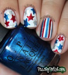 4th of July Nail Art - see my board Fouth of July and other red/White/Blue occasions for hundreds of 4th mani ideas!!!
