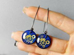 Steampunk earrings Steampunk jewelry Resin steampunk by ByEmilyRay
