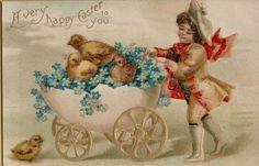 Vintage Easter Chicks In Egg Stroller Greetings Postcard Card Victorian #Easter