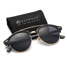 3b1053df268 AEVOGUE Polarized Sunglasses Mens Semi-Rimless Retro Unisex