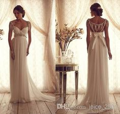 Wholesale A-Line Wedding Dresses - Buy Stunning Anna Campbell Wedding Dresses 2014 Summer Beading Cap Sleeves Empire Ruched Sheath Backless Chiffon Beach Bridal Dress Gown AN011, $114.46 | DHgate
