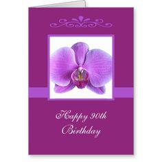 Orchid 90th Birthday Card
