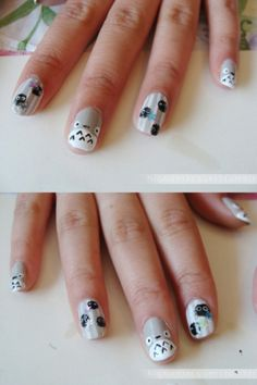 OMFG cute-ass totoro nails