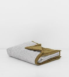 Sofa Blanket in Olive & Charcoal Stripe at Father Rabbit Limited Store, Cosy Sofa, Sofa Blanket, Core Collection, Charcoal, Zip Around Wallet, Rabbit, Father, Beds