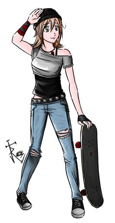 sktaeboarding girl drawings | Commision for Serge-Marques - Kelly Skater Girl by anarkiridian