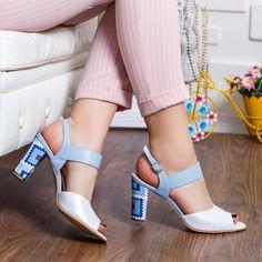 Sandale dama cu toc piele naturala albe cu albastru Rozmin