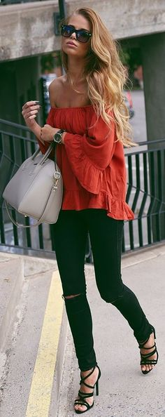 Josefin Elkstrom Red Off Soulder Top Fall Inspo
