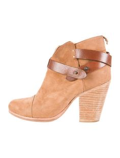 Camel leather Rag & Bone round-toe ankle boots with gunmetal hardware contrast leather straps and stacked heels.