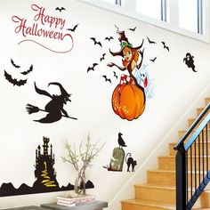 Happy Halloween Flying Witch Ghost Pumpkin Castel Bat Cat Wall Stickers Wall Decal