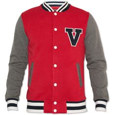 Voi Jeans Mens Red Varsity Jacket ❤ liked on Polyvore