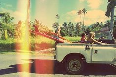 beach, convertible, surf, retro