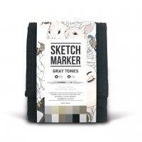 Набор спиртовых маркеров, Gray (Серые тона) Set 12, SketchMarker