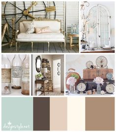 Vintage Chic Color Palette, With Accents Of Teal, Brown, Pink, And Cream