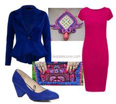 Outfit Plus Size: tubino fucsia con blazer blu cobalto | La DIVA delle CURVE