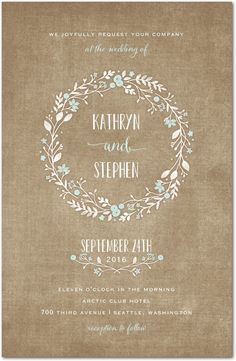 Wreathed in Love - Signature White Wedding Invitations in Cashmere Pink or Lightest Turquoise | Lady Jae