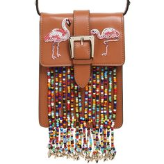 Red Valentino Women Flamingo Leather Bag W/ Beaded Fringe (€1.040) ❤ liked on Polyvore featuring bags, handbags, shoulder bags, brown handbags, fringe purse, fringe handbags, brown purse and leather handbags