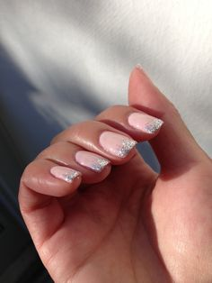 Pink shellac with silver glitter gradient tips