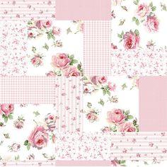 Papel de Parede Adesivo Patchwork Rosa