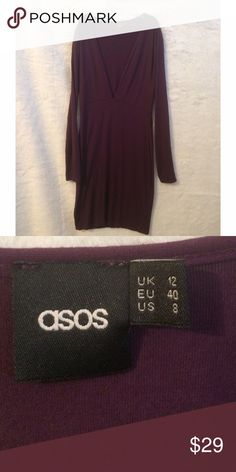 asos Deep V Merlot Dress asos  Deep V Merlot Mini Dress. NWOT I tried it on & was ready to wear it but I just did not feel comfortable in it.  NWOT ASOS Dresses Mini
