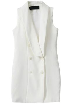Shop White Sleeveless Double Breasted Dress online. Sheinside offers White Sleeveless Double Breasted Dress & more to fit your fashionable needs. Free Shipping Worldwide!