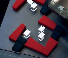 Diagonal Breakout Seating Area- very cool wedged design!