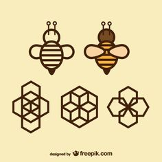 Geometry icons bee and honeycomb