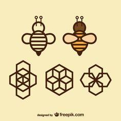 Géométrie icônes abeille et nid d'abeille