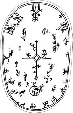 Shaman´s drum symbols in Scandinavia Lappland, Asatru, Thinking Day, Norse Mythology, Tribal Art, Art Plastique, Ancient Art, Rock Art, Tattoo Inspiration