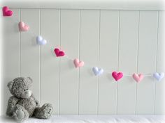 Heart banner/ garland/ bunting Fuchsia pink by LullabyMobiles