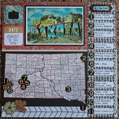 South dakota scrapbook page with map and destinations - layout - albu Travel Scrapbook Pages, Paper Bag Scrapbook, Vacation Scrapbook, Scrapbook Page Layouts, Scrapbook Cards, Scrapbooking Ideas, Scrapbook Templates, South Dakota Vacation, How To Make A Paper Bag
