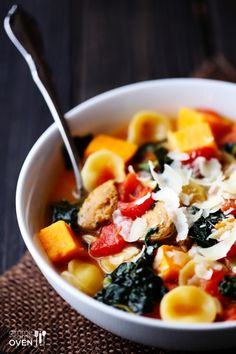 Sweet Potato, Sausage & Kale Soup -- seasonal, healthy, simple, and delicious! | gimmesomeoven.com