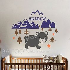 BATTOO Bear Mountain Wall Decal Baby Animal Nursery Woodland Mountain Theme Boy Girl Name Personalized Kids Wilderness Wall Mural Room Decorcolor2 40x335 *** You can find more details by visiting the image link. Note: It's an affiliate link to Amazon