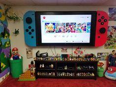 This is the flatscreen television… Awesome Nintendo Switch TV Wall Mount. This is the flatscreen television…,Upcycling Awesome Nintendo Switch TV Wall Mount. Tv Emoldurada, Sala Geek, Boy Room, Kids Room, Boys Game Room, Nintendo Room, Nintendo Controller, Nintendo Party, Kirby Nintendo