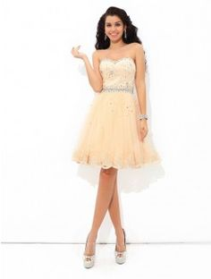A-Line/Princess Sweetheart Mini Satin Cocktail Dress With Ruffles Beading
