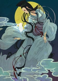 Chinese Moon Goddess - Chang E with the Jade Rabbit (artist unknown at this time) Jade Rabbit, Geisha, Deities, Goddess Art, Moon Goddess, Chinese Culture, Chinese Art, Chinese Mythology, Moon Art