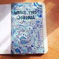 Wreck this journal title page. Blue Paisley. ☆