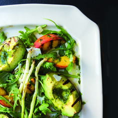 Grilled Peach and Avocado Salad with Basil Vinaigrette. Recipe from Gena Knox, author of Southern My Way, Athens, GA. Photo by Rinne Allen.