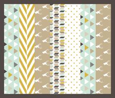 Tan Mint Deer Quilt fabric by mrshervi on Spoonflower - custom fabric Love this as the baby blanket!