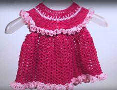 Видеоурок по вязанию крючком детского платьяс оборками