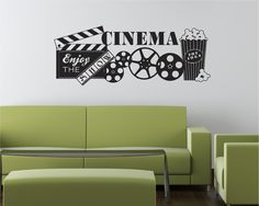Cinema Movie Popcorn Theater Show Vinyl Decor Wall Lettering Words Quotes Decals Art Custom Willow Creek Signs & Decorating theme bedrooms - Maries Manor: Movie themed bedrooms ...
